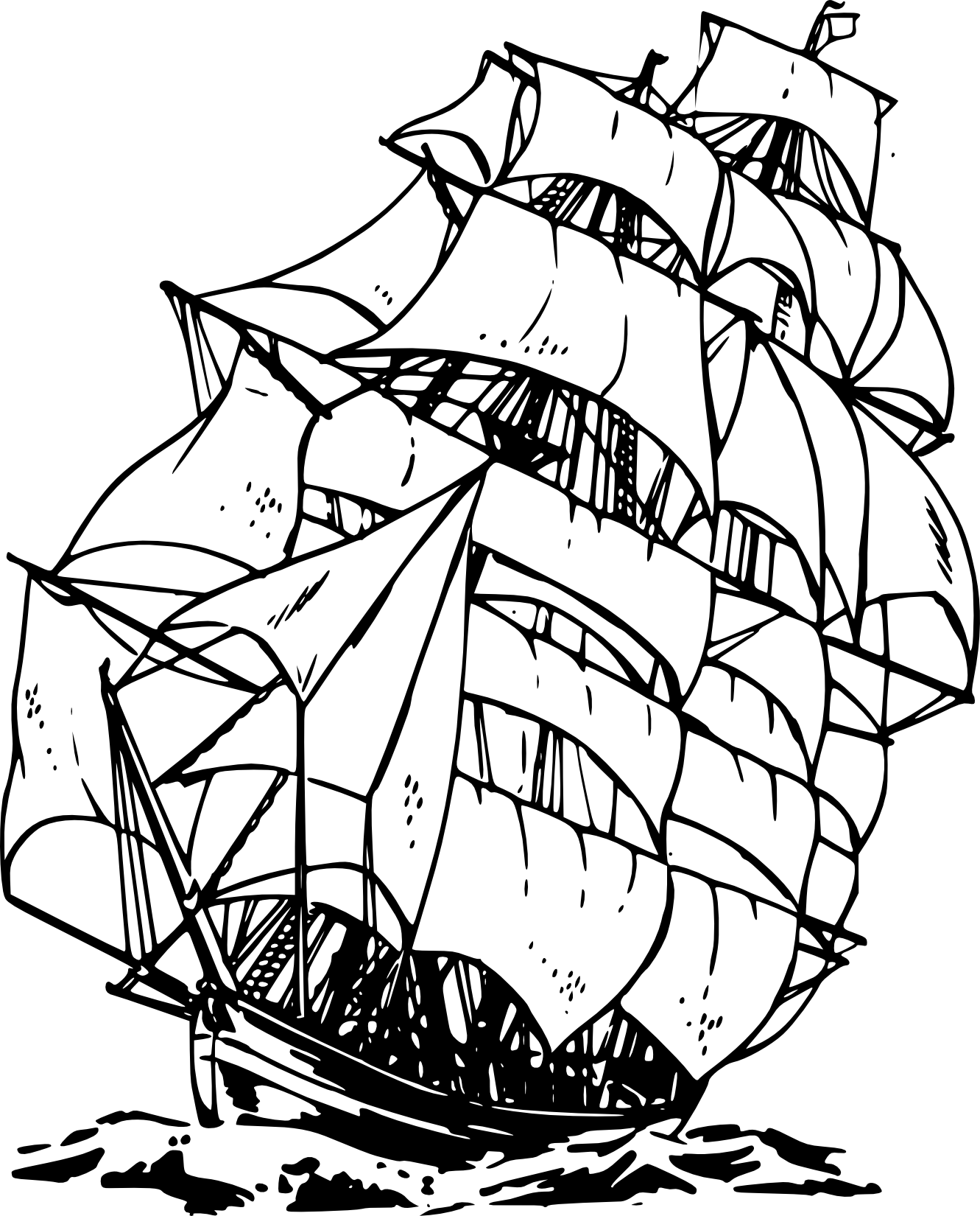 1331x1650 Pirate Ship Clipart Black And White Free 5