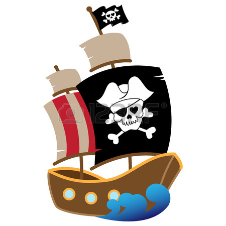 450x450 Vector Illustration Of A Pirate Ship Royalty Free Cliparts