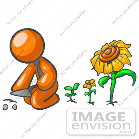 450x450 Cliprt Graphic Ofn Orange Guy Character Planting Seeds In