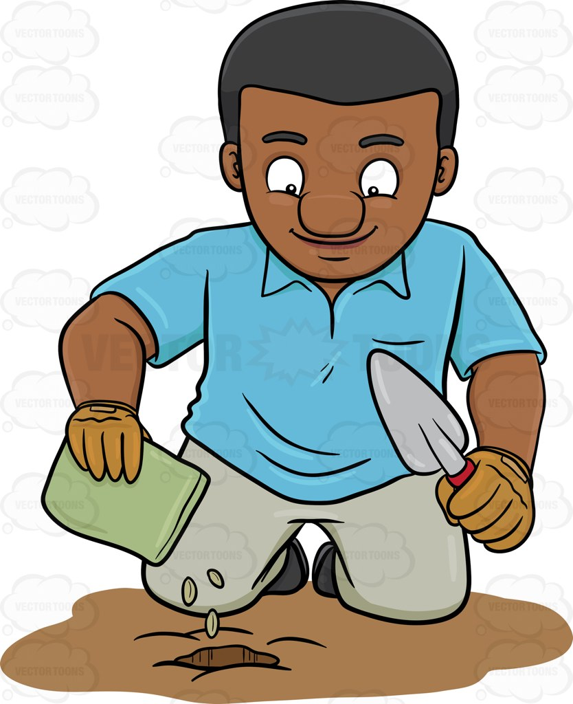 834x1024 A Black Man Planting Seeds Cartoon Clipart