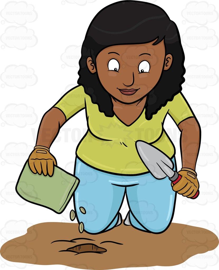 830x1024 A Black Woman Planting Seeds Cartoon Clipart