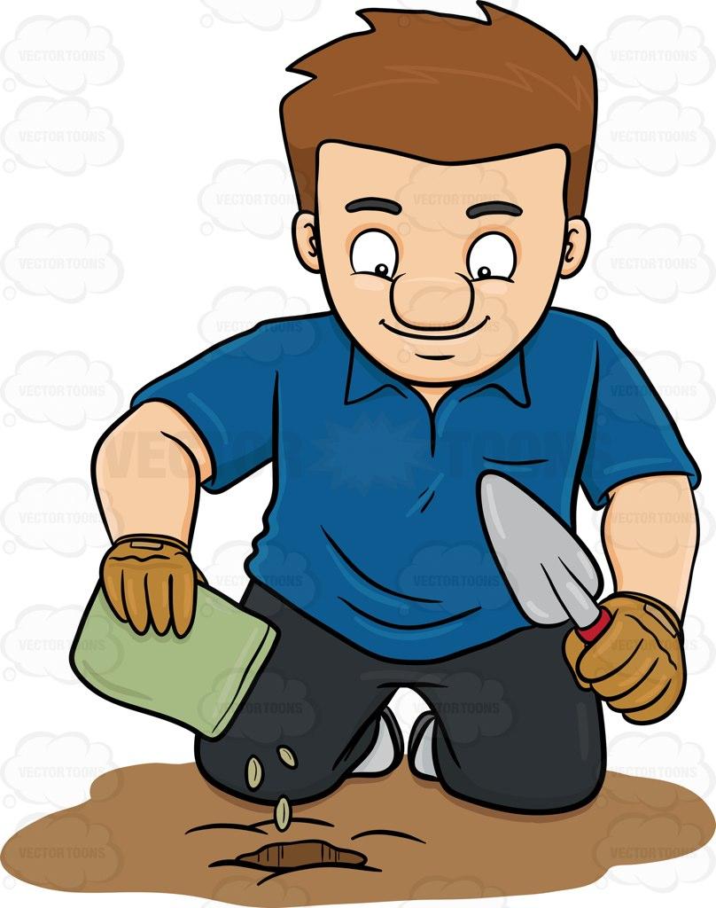 808x1024 A Man Planting Seeds Cartoon Clipart