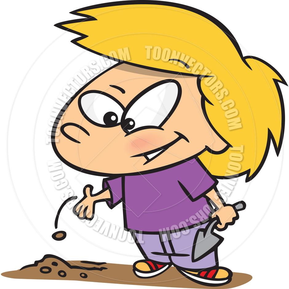 940x940 Cartoon Girl Planting Seeds By Ron Leishman Toon Vectors Eps