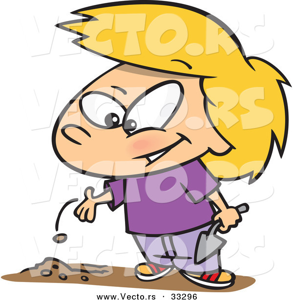 600x620 Cartoon Of A Happy Girl Planting A Seed In Garden Soil By Toonaday
