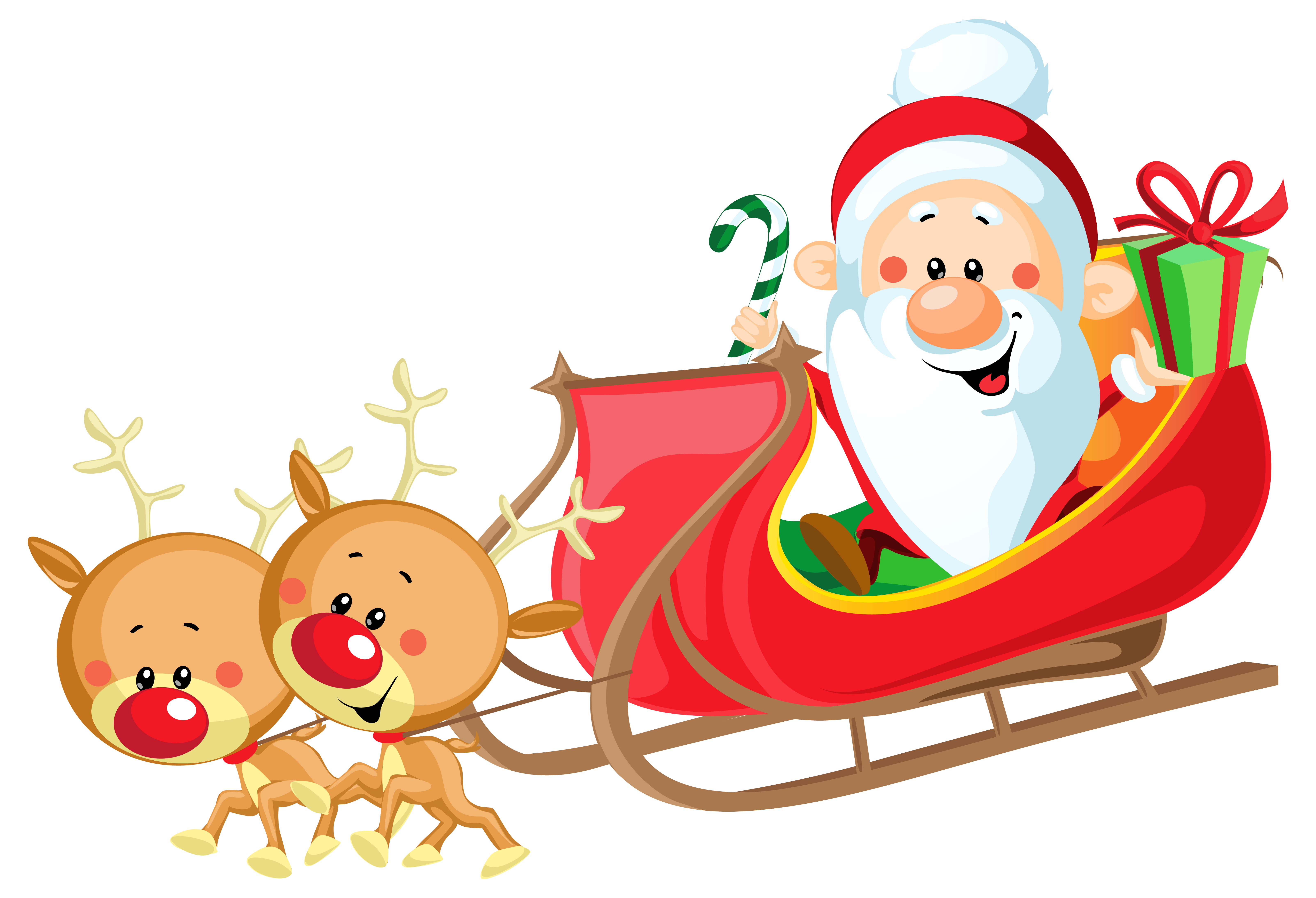 6412x4378 Cute Santa With Sleigh Png Clipart Imageu200b Gallery Yopriceville