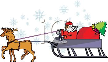 350x201 Reindeer Pulling Santa's Sleigh