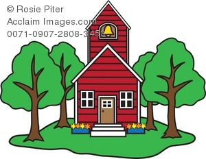 300x232 Clip Art Illustration Of A Little Schoolhouse Surrounded By Trees