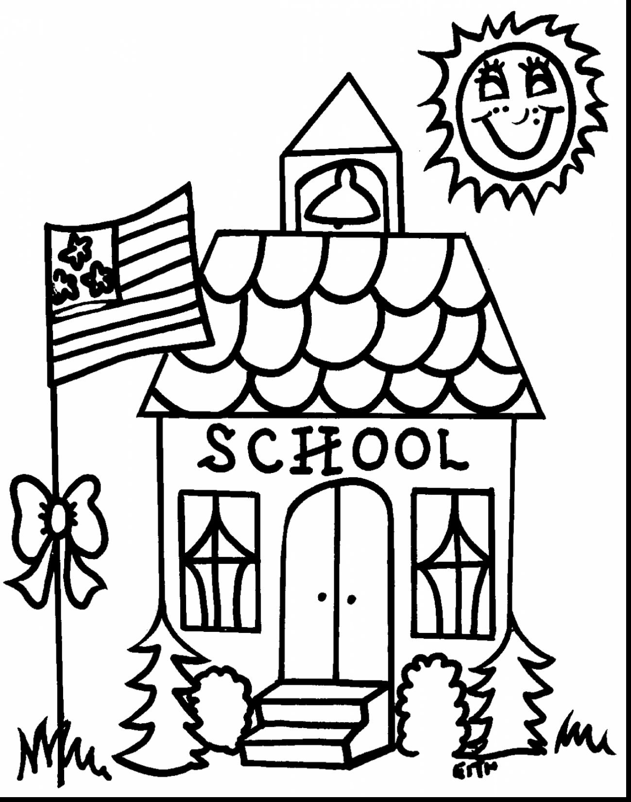 1299x1650 Unbelievable Coloring Page Of School House With Back To School