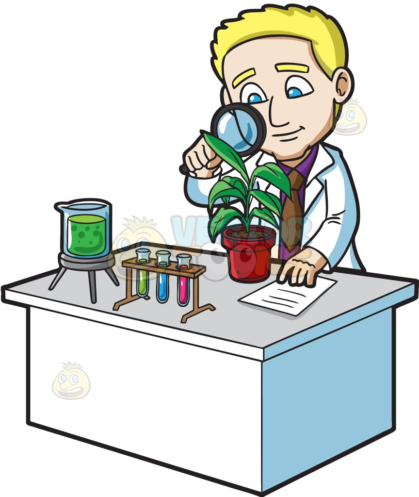 864x1024 A Scientist Studying A Plant Cartoon Clipart