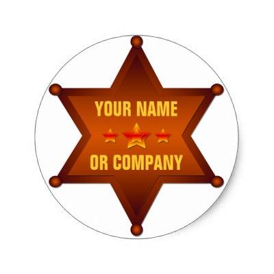 400x400 Customizable Marshal Sheriff Badge Classic Round Sticker