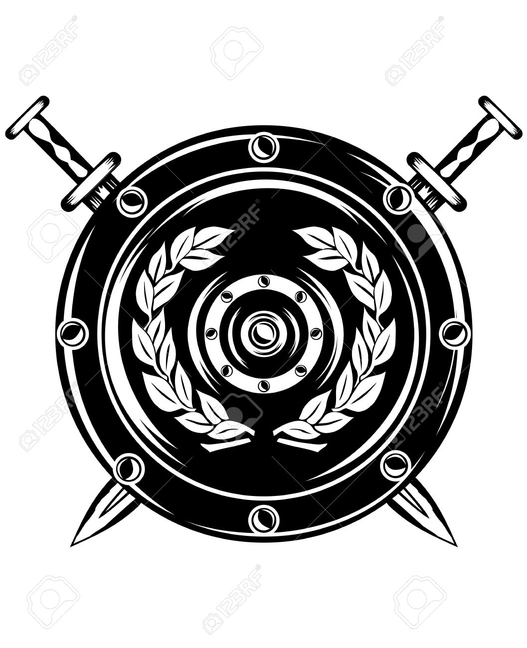 1057x1300 Image Of Shield And Crossed Swords Royalty Free Cliparts, Vectors