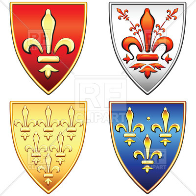 400x400 Traditional old shields with the coat of arms of France and