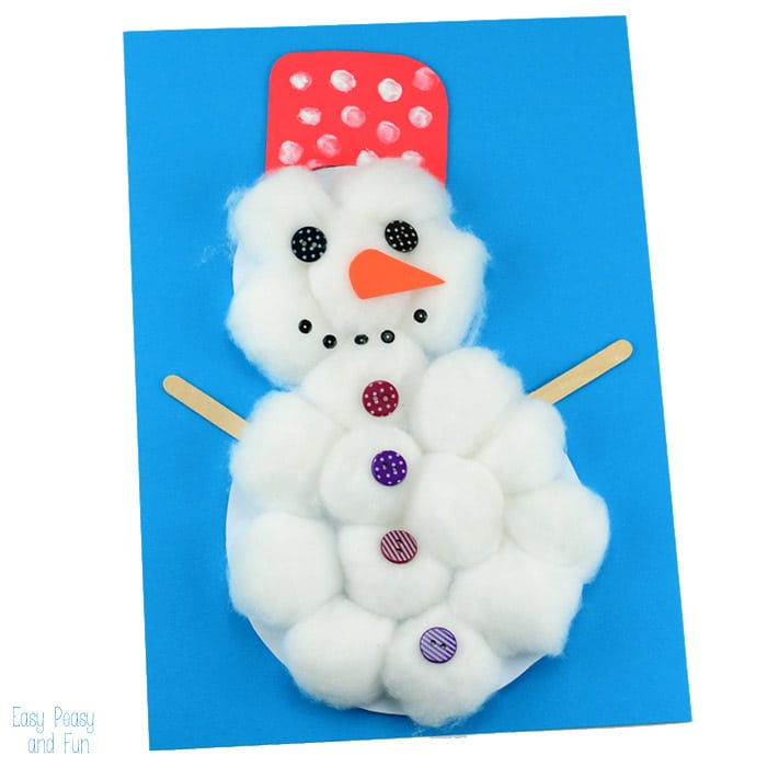 700x700 Cotton Ball Snowman Craft