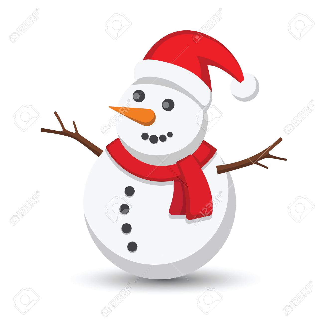 1300x1300 Snowman Vector Illustration On White Background Royalty Free