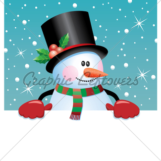 325x325 Vector Christmas Snowman With Santa Hat And Gloves Gl Stock Images