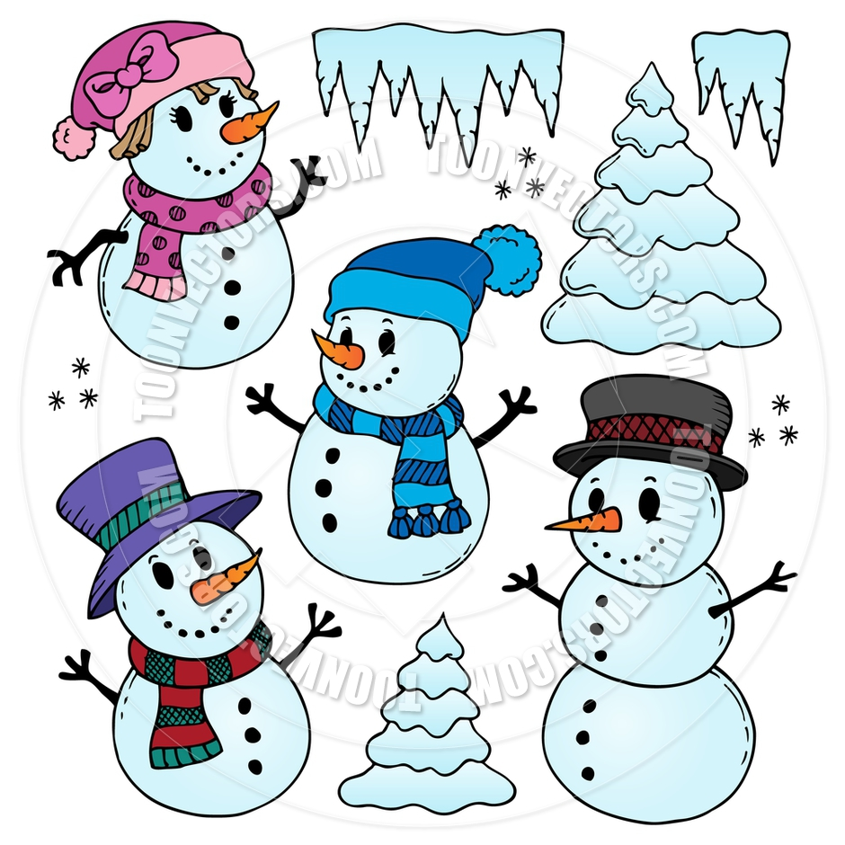 940x940 Cartoon Stylized Snowmen Theme Drawings By Clairev Toon Vectors