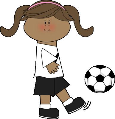 386x400 Girl Kicking Soccer Ball Clip Art