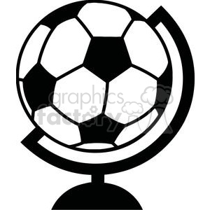 300x300 Royalty Free Black And White Soccer Ball Globe 379875 Vector Clip