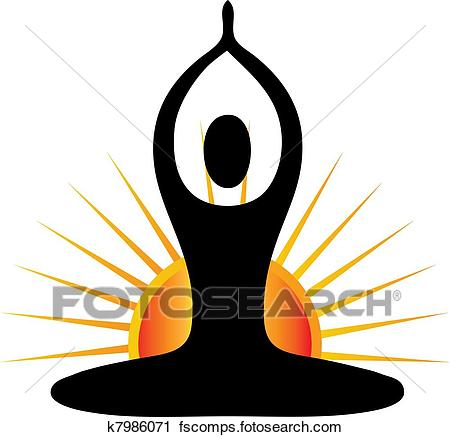 450x437 Clipart Of Yoga Figure In Sunny Day K7986071