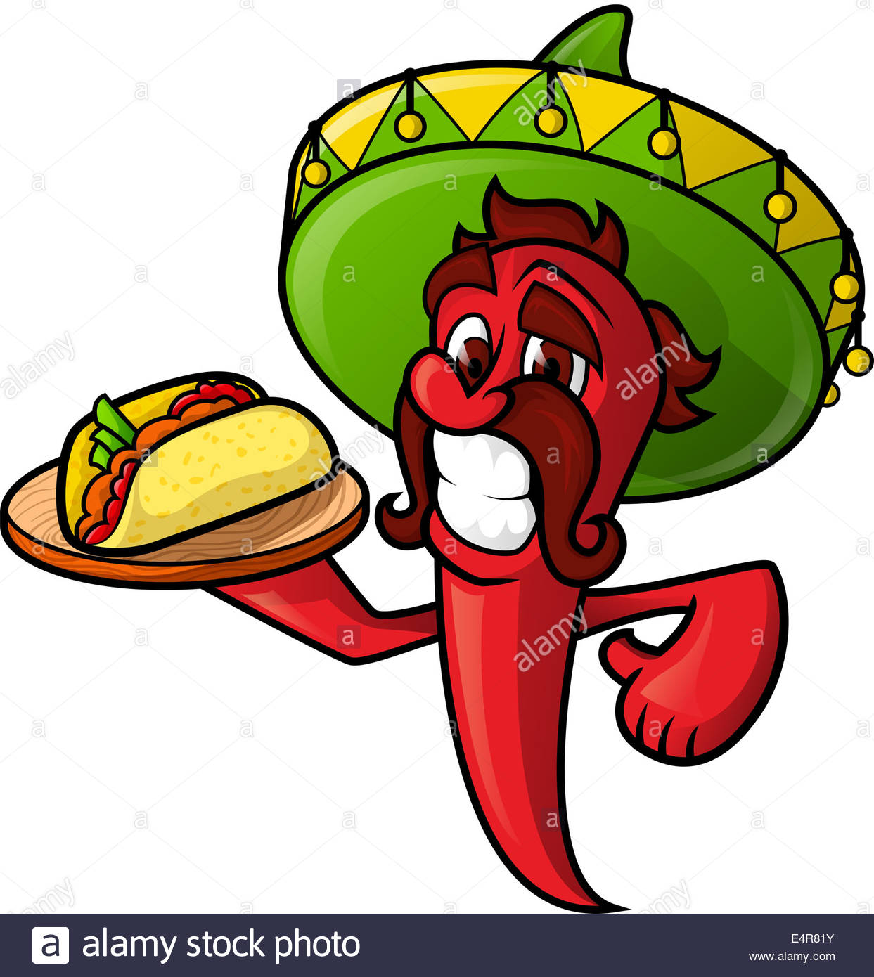 1243x1390 Mexican Pepper Holds A Tray Of Tacos. Cheerful Character Chili