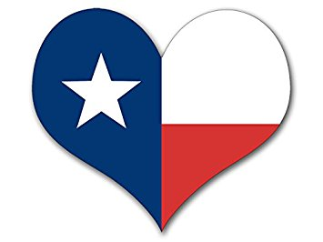 355x266 Heart Shaped Texas Flag Sticker (Tx Love Decal