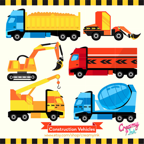 570x570 Construction Vehicles Digital Vector Clip Art Vehicle Digital