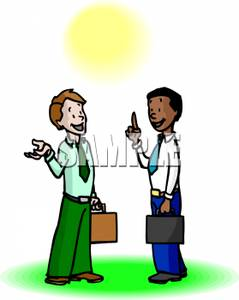 239x300 Art Image Two Businessmen Talking To Each Other