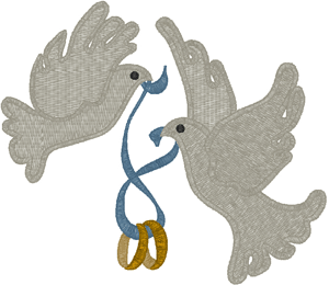 300x260 Rings Doves Embroidery Design