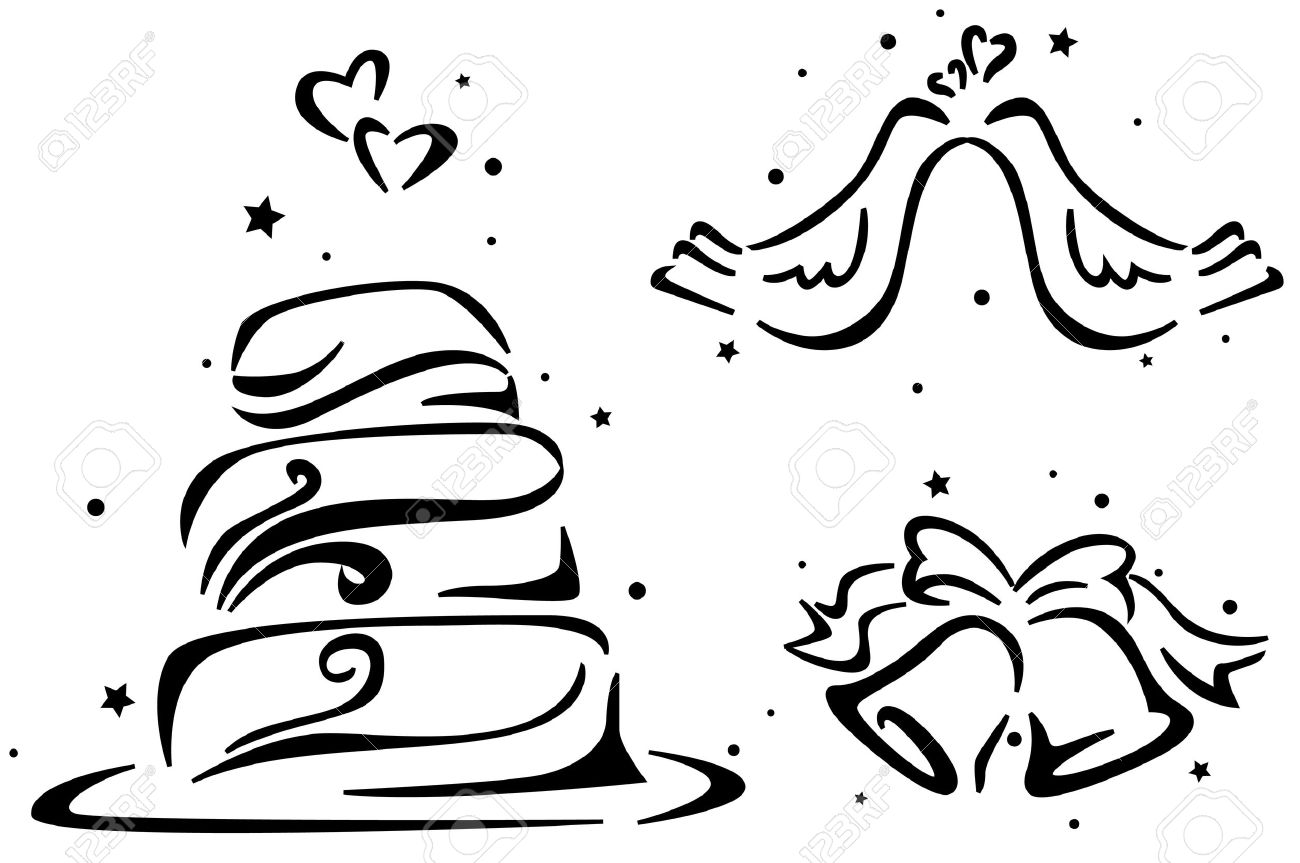 1300x863 Wedding Stencil Featuring A Wedding Cake, Wedding Bells,