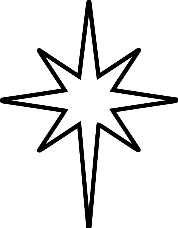 625x799 Christmas Star Clip Art Black And White Nativity Star Is