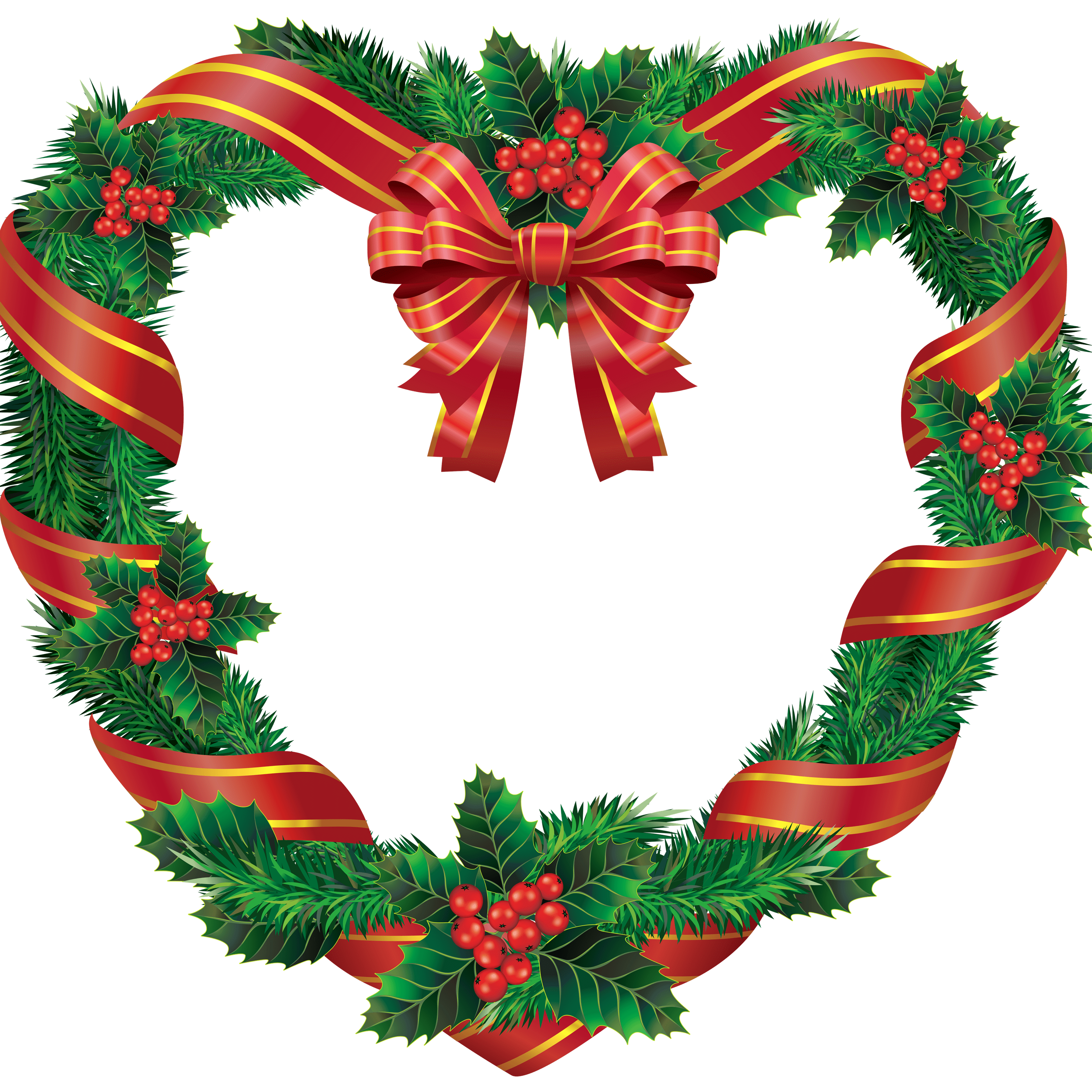 3000x3000 Heart Christmas Wreath Transparent Png