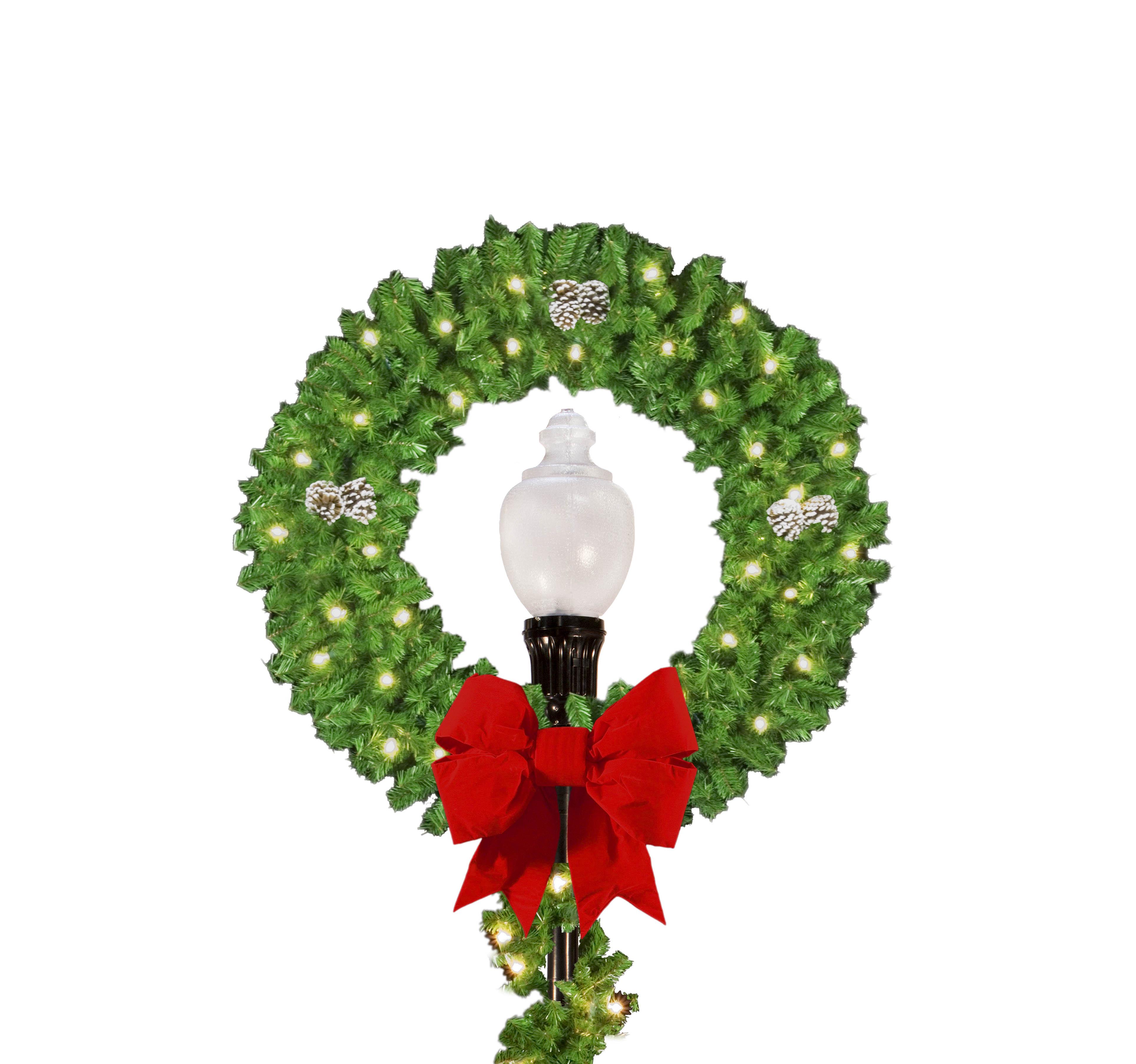3857x3613 Wreath Light Pole Christmas Decorations