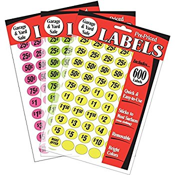 350x350 Avery Preprinted Removable Garage Sale Labels, 0.75