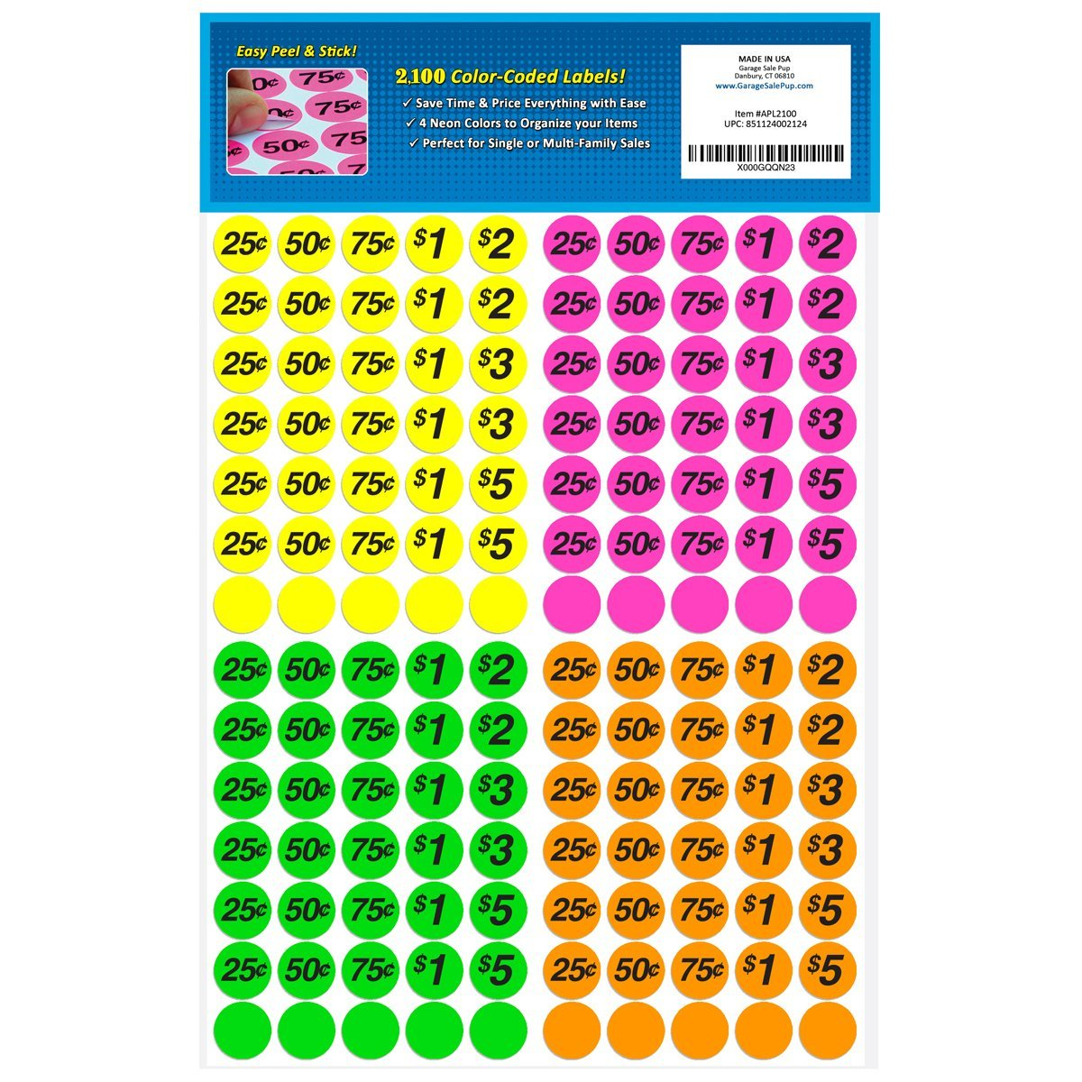 1200x1200 Garage Sale Pup Preprinted Pricing Labels, Bright