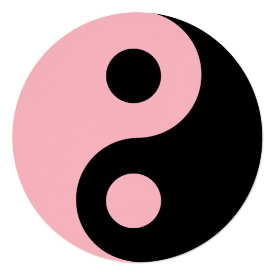 540x540 Light Pink And Black Yin Yang Symbol Birthday Card