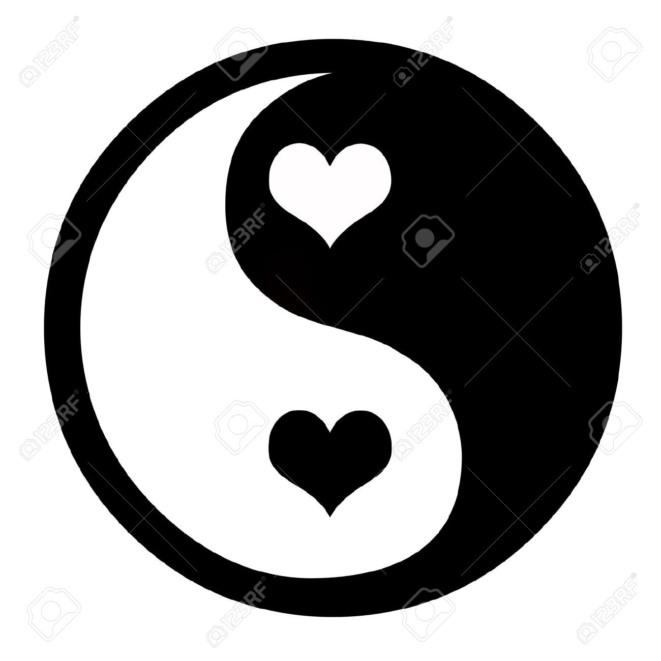 1300x1300 Asian Yin Yang Symbol With Hearts, Coceptual Background Stock