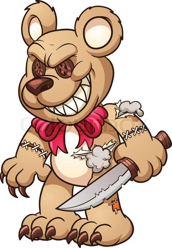 555x800 Evil Teddy Bear. Vector Clip Art Illustration With Simple
