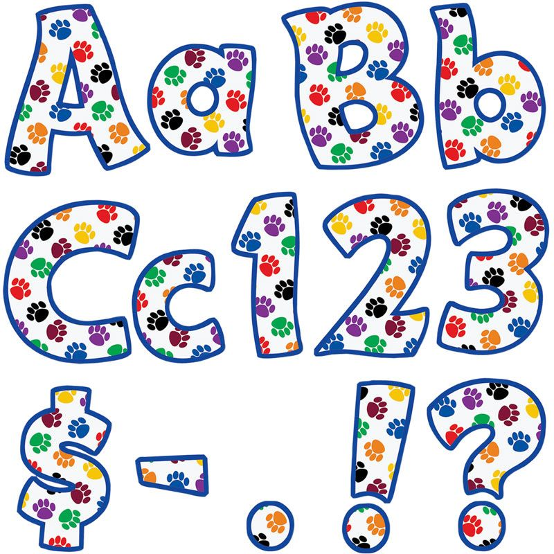 800x800 Colorful Paw Prints Funtastic 4 Letters And Numbers