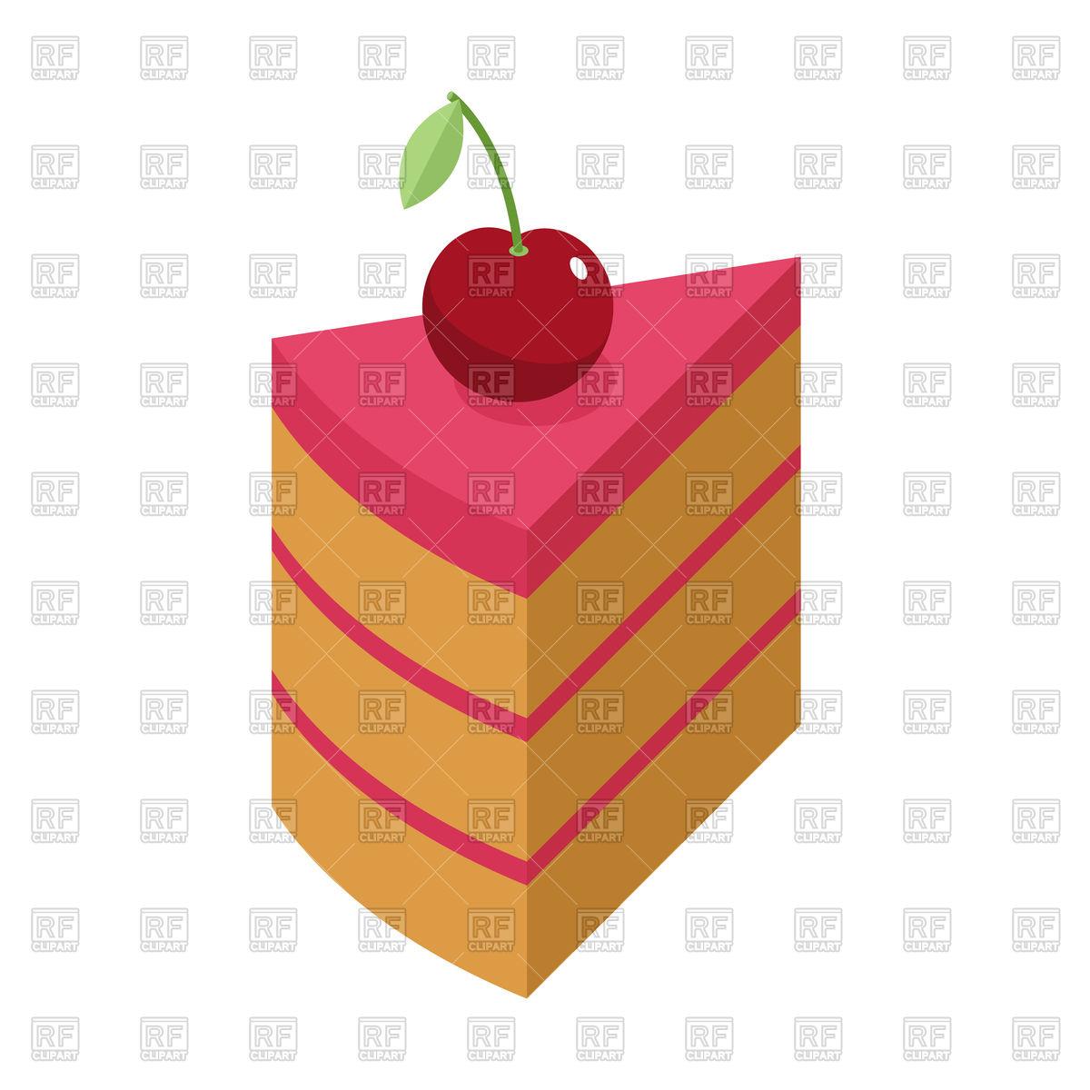 1200x1200 Cherry Cake Piece With Berry Isolated Royalty Free Vector Clip Art