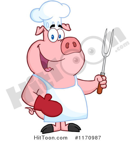450x470 Cartoon Of A Bbq Chef Pig Holding A Fork