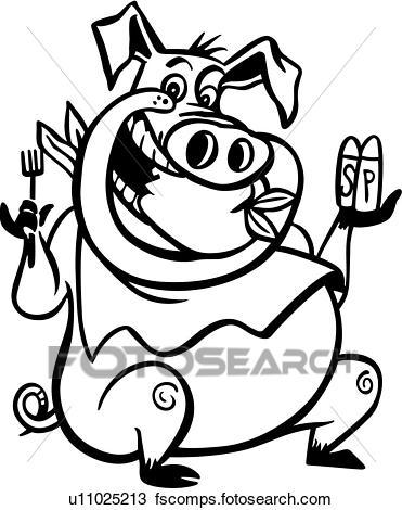 371x470 Clipart Of , Barbeque, Bbq, Cartoon, Pig, Pork, U11025213