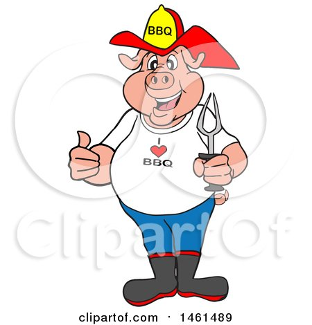 450x470 Clipart Of A Cartoon Pig Fireman Holding A Thumb Up And A Bbq Fork