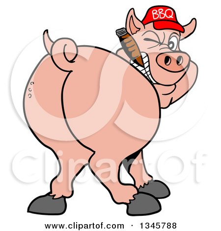 450x470 Clipart Of A Cartoon Rear View Of A Grinning Pig Looking Back