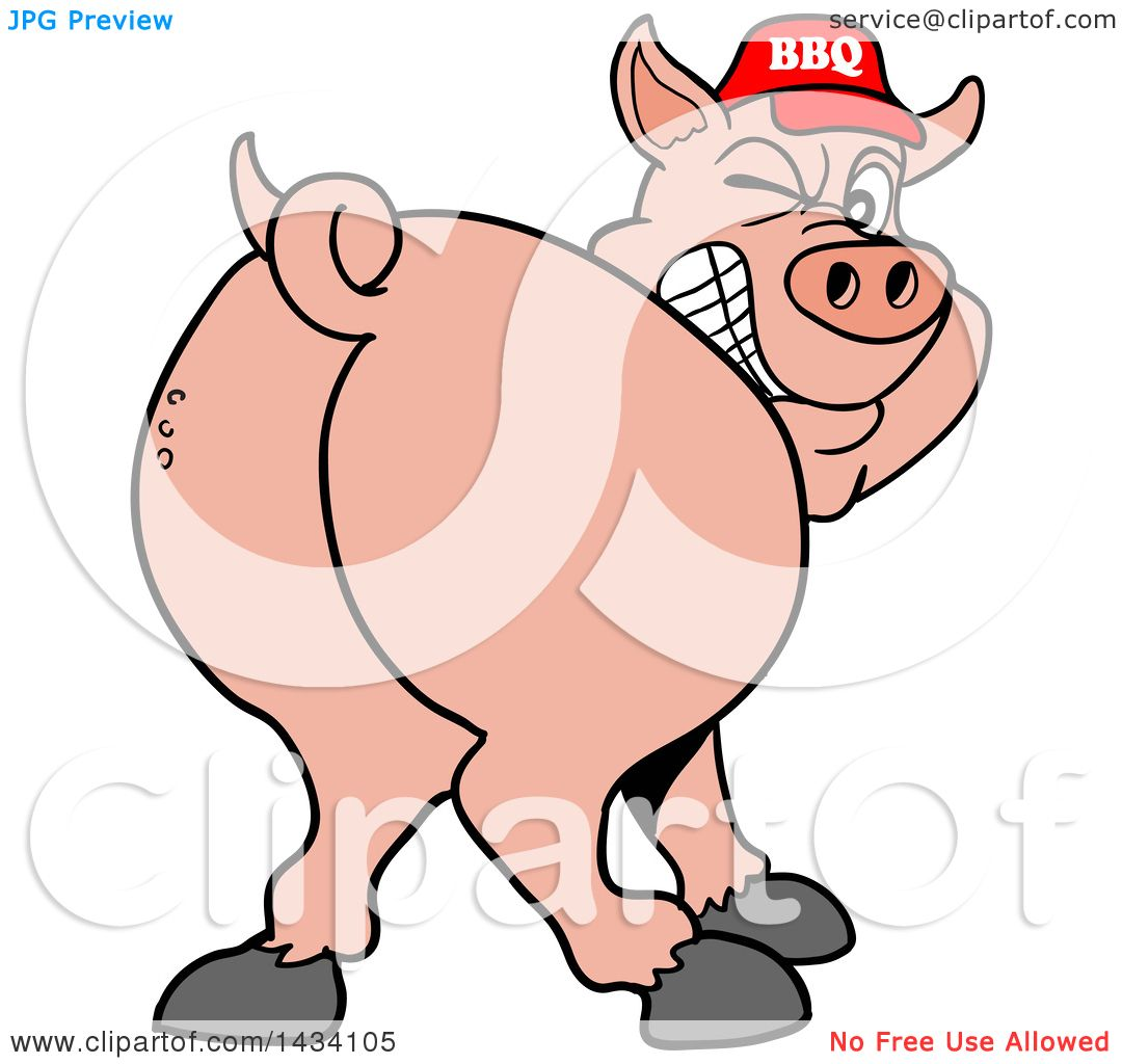 1080x1024 Clipart Of A Cartoon Rear View Of A Grinning And Winking Pig