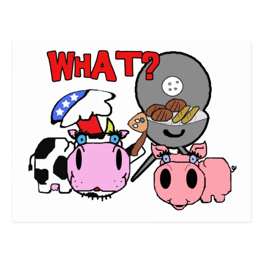540x540 Cow And Pig Schnozzles Barbecue Bbq Cartoon Postcard