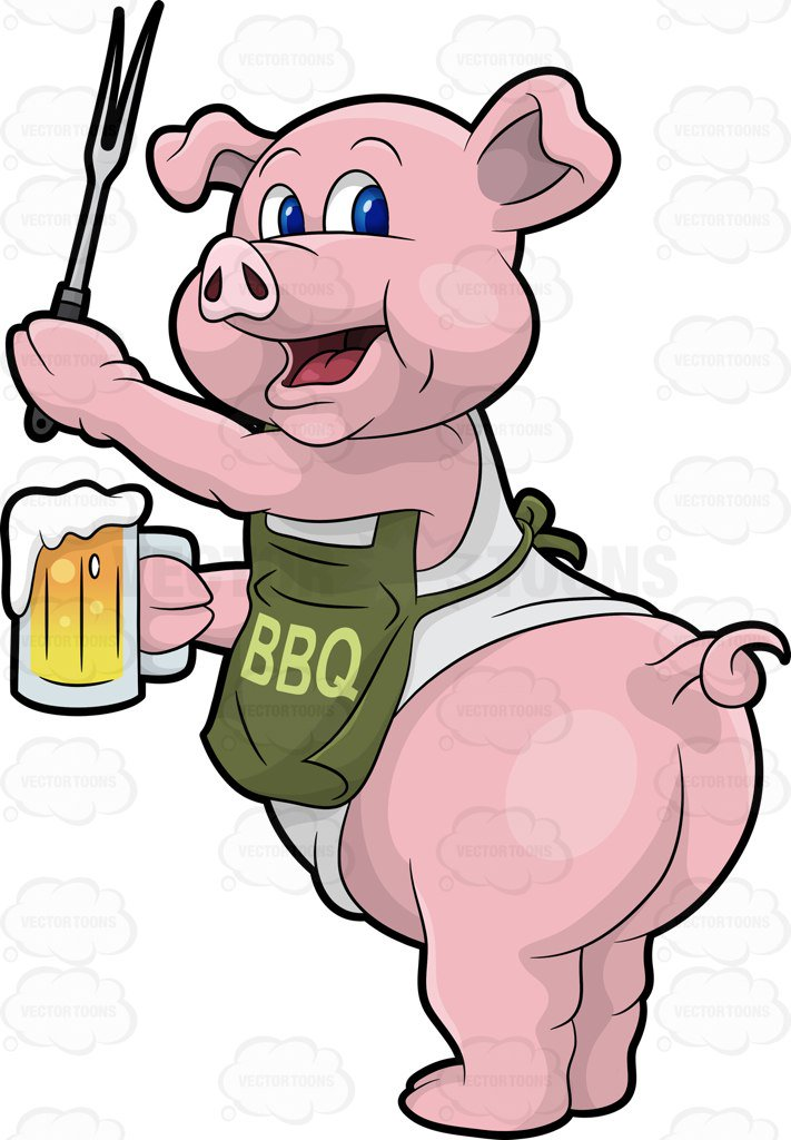 711x1024 A Pig Cook Holding A Beer And Bbq Fork Cartoon Clipart