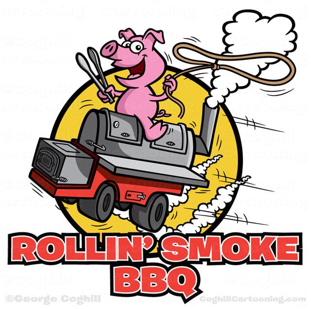 640x636 Pig On Bbq Smokergrill Cartoon Logo