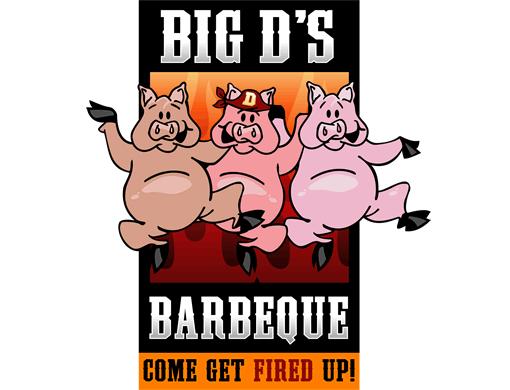 510x390 Bbq Restaurant Pig Logo. Big D's Barbecue Business Card Design