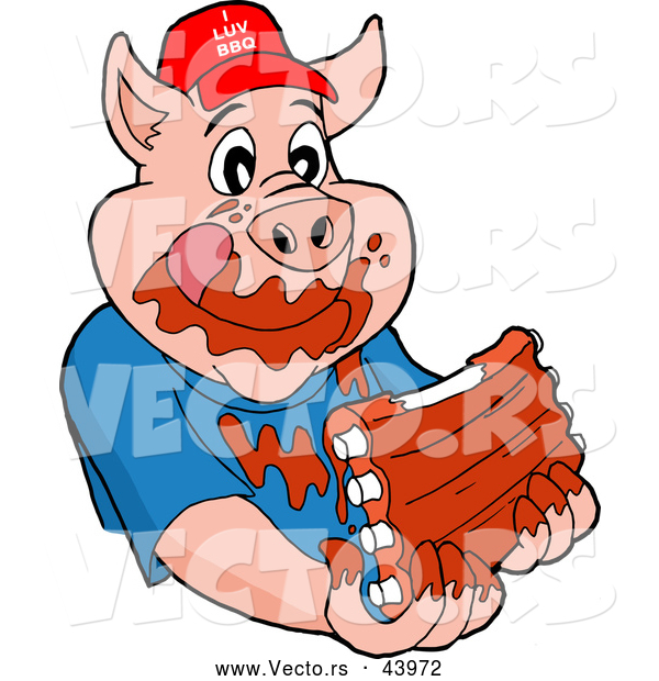 600x620 Vector Of A Happy Cartoon Pig Eating Tasty Ribs Covered With Bbq