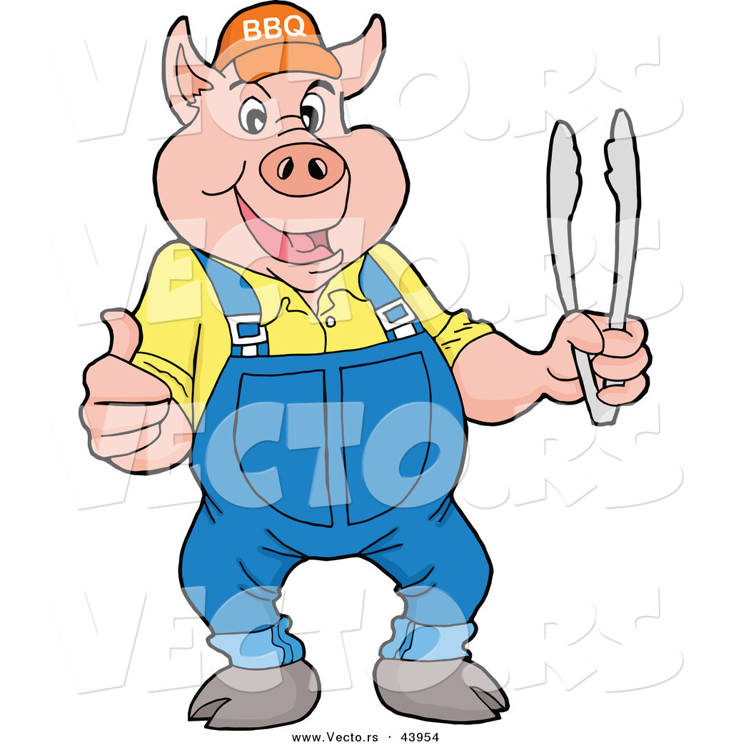 1024x1044 Vector Of Happy Cartoon Pig Holding Bbq Tongs While Giving